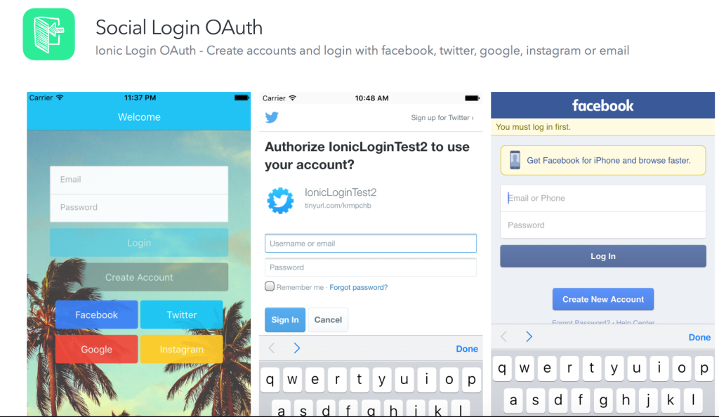 Social Login with Ionic